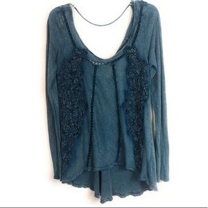 Free People Cut Out Open Back Blue Burnout L/S Med